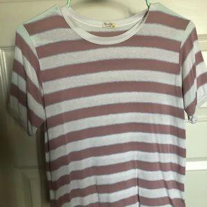 Pink, white, blue striped shirt